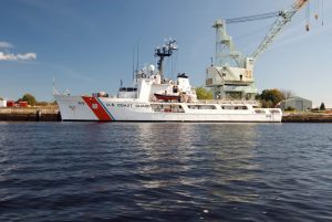 Coast Guard ship docked at the Portsmouth harbor in New Hampshire.